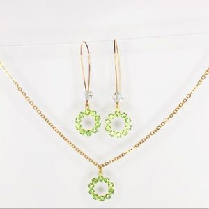 Green Swarovski Necklace and Earring Matching Set